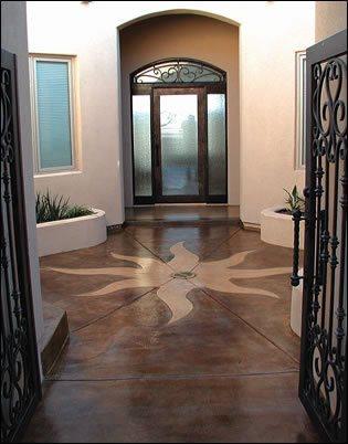 Stained, Sunburst Concrete Entryways Floortastic by Jeffrey Phoenix, AZ