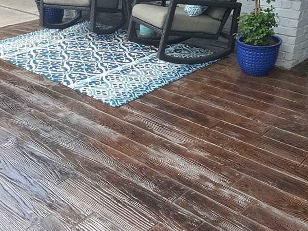 Wood-Look Concrete, Front Porch, Stained Concrete Concrete Entryways Angel's Concrete Design Services Houston, TX