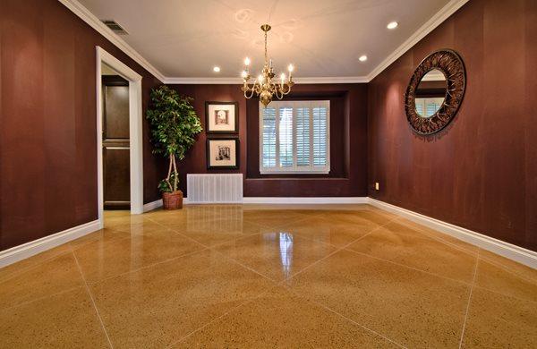 Concrete, Floor, Living Room, Diamond, Tan Concrete Floor Overlay ACI Flooring Inc Beaumont, CA