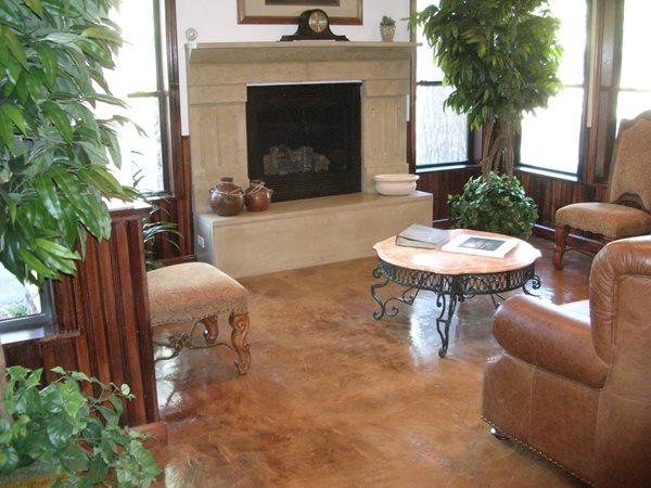 Fireplace, Surround Concrete Floor Overlay Solid Solutions Studios Fresno, CA