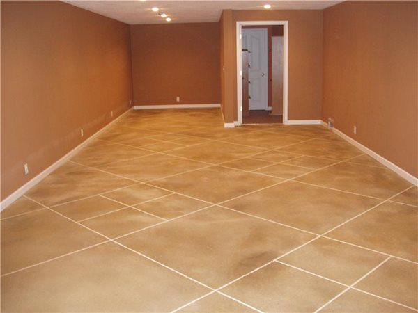 Stained Scored Floor Concrete Floor Overlay Decorative Concrete Plus Chaffee, MO