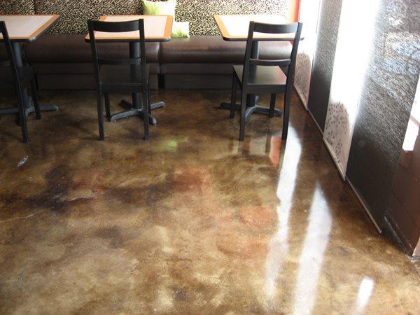 Acid Stain Marbling, Concrete Restaurant Floor Concrete Floors Floor Rescue Richardson, TX