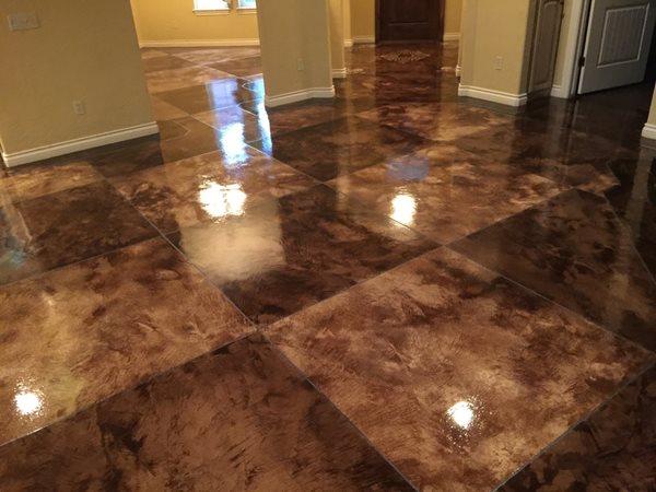 Acid Stain, Tile Pattern Concrete Floors Owens Concrete Staining Oklahoma City, OK