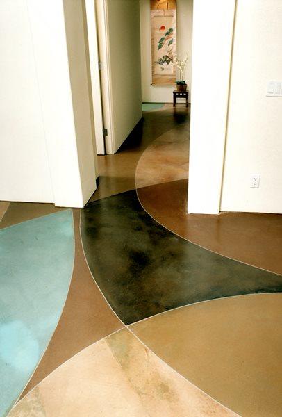 Black, Aqua Concrete Floors Brickform Rialto, CA
