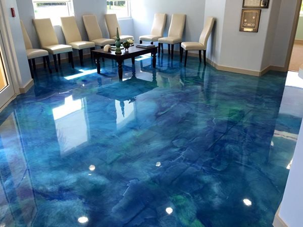 Blue, Epoxy, Waiting Room Concrete Floors Stone FX Humble, TX