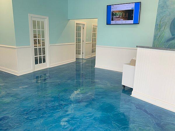 Blue Polished Floor Concrete Floors Distinguished Designs LLC Chesapeake, VA