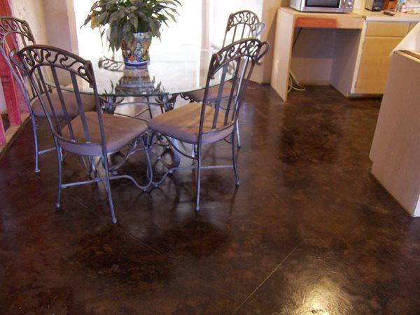 Breakfast Nook Floors, Dark Brown Concrete Floors KDA Custom Floor Co. Katy, TX