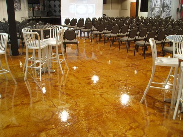 Brown, Shiny, Gloss Concrete Floors Concreations, LLC Millersburg, IN