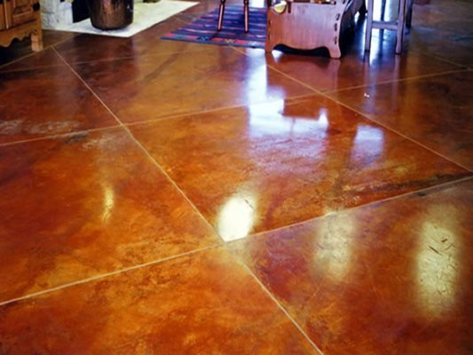 Brown, Stain, Living Space Concrete Floors Worldwide Concrete Pasadena, MD