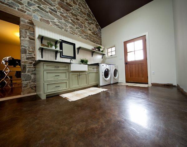Brown Stained Concrete, Laundry Room Floor Concrete Floors Reformed Concrete LLC Quarryville, PA