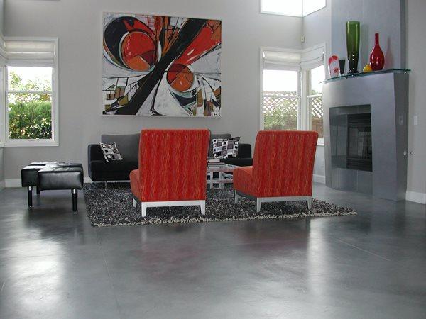 Brushed, Silver Concrete Floors Masterpiece Concrete Compositions Oceanside, CA