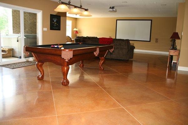 Diamond Pattern, Rec Room Floor Concrete Floors RS Concrete Solutions Strathroy, ON