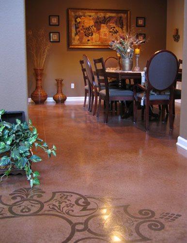 Earth Red Floor, Stencil Design Concrete Floors The Concrete Colorist, Inc VALLEJO, CA