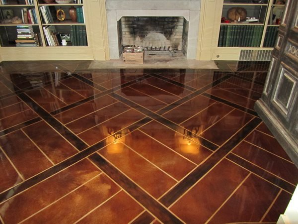 Engraved Stained Overlay Concrete Floors Concrete Mystique Engraving Antioch, TN