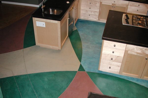 Geometric Design, Colorful Concrete Floors Diamond D Company Capitola, CA