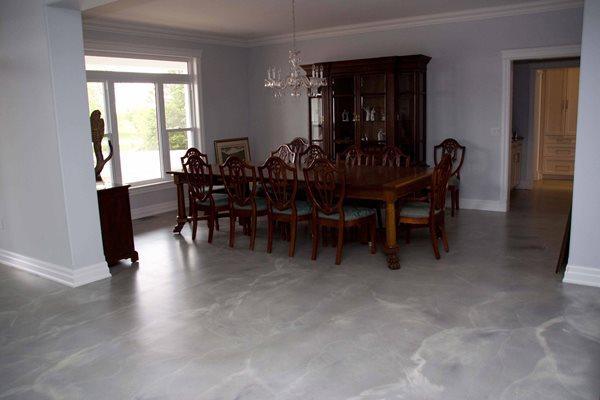 Gray Concrete Dining Room Floor Concrete Floors RS Concrete Solutions Strathroy, ON