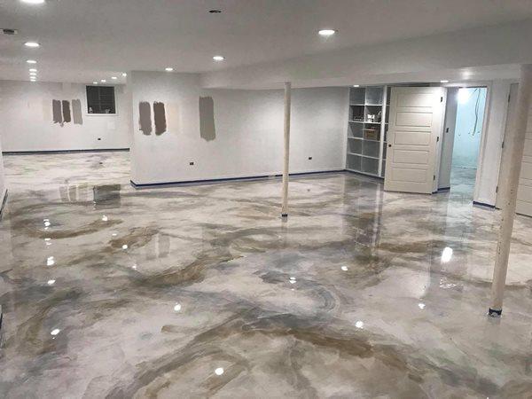 Gray Metallic Floor, Epoxy Coating Concrete Floors Custom Coatings Incorporated Aurora, IL