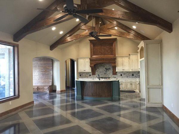 Kitchen Floor, Lattice Pattern Concrete Floors Owens Concrete Staining Oklahoma City, OK