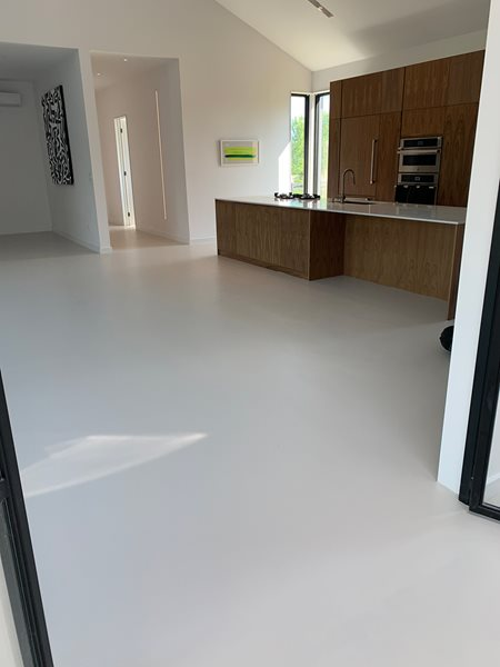 Kitchen Floor, White Epoxy Concrete Floors Epoxy Solutions Inc Brampton, ON