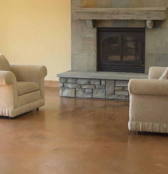 Living Room, Brown, Fireplace Concrete Floors Kent Magnell Concrete Artisan Santa Rosa, CA
