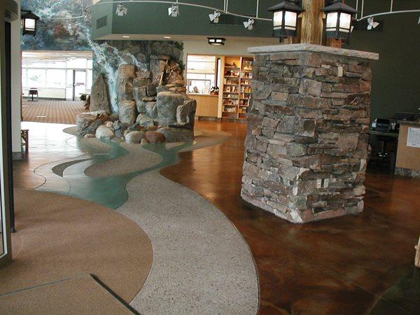 Lobby, Water Feature Concrete Floors Colorado Hardscapes Denver, CO