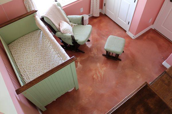 Pink Floor, Nursery, Metallic Coating Concrete Floors Modern Concrete Floors Tempe, AZ