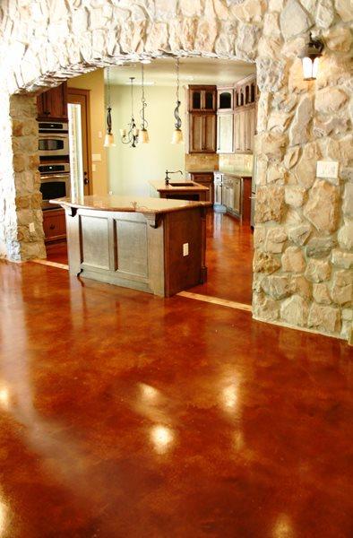 Red Stained Floor Concrete Floors Peyton & Associates Montgomery, TX
