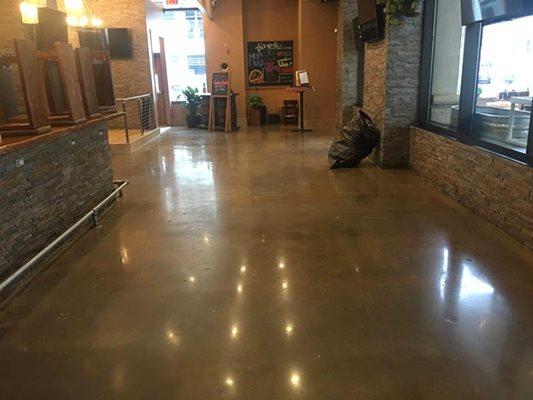 Restaurant, Stained, Polished Concrete Floors Rose Restoration Fairfax, VA