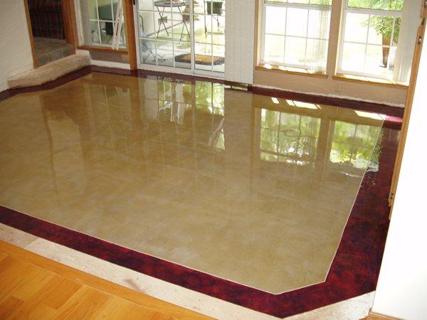Sand, Red Trim Concrete Floors Advanced Construction Modesto, CA