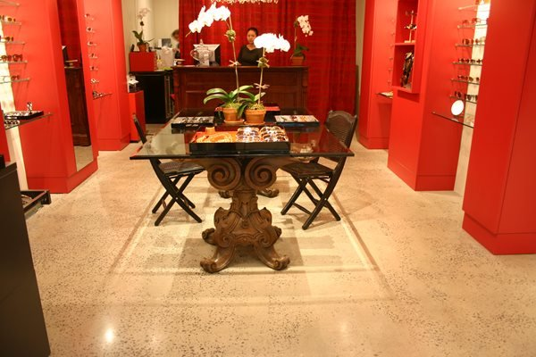 Speckled Tan Floor Concrete Floors Diversified Decorative Finishes Inc Monroe, NC
