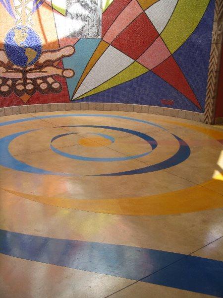 Spiral, Blue, Yellow Concrete Floors Sullivan Concrete Textures Costa Mesa, CA