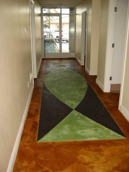 Stained Concrete Floor, Stained Concrete Hallway Concrete Floors Diamond D Company Capitola, CA