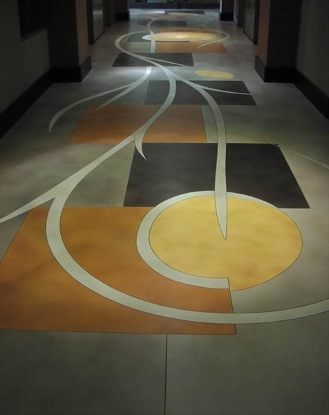 Stained Floor, Geometric Shapes Concrete Floors LA Concrete Works West Hills, CA