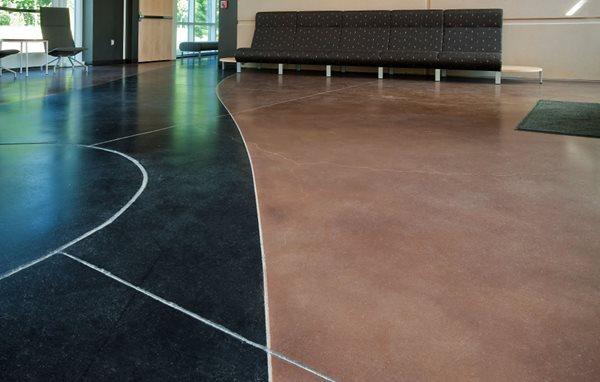 Stained Floor, Sawcut Curves Concrete Floors Hyde Concrete Pasadena, MD