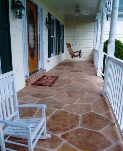 Stained, Stamped, Rocking Chair, Porchswing Concrete Floors Sundek of Washington Chantilly, VA