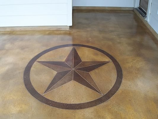 Star, Stained, Brown, Stencil Concrete Floors KDA Custom Floor Co. Katy, TX