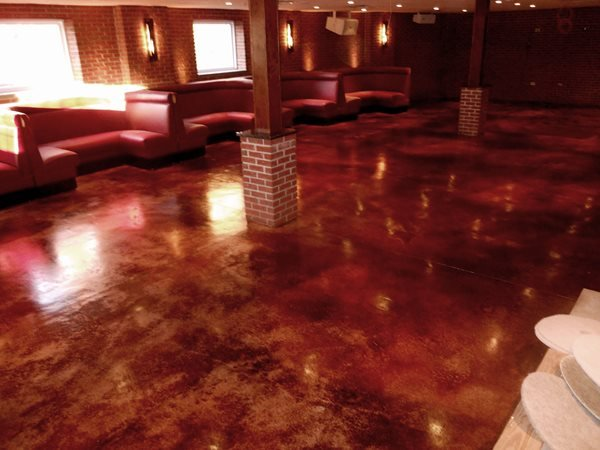 Steakhouse Floor, Leather, Stained Concrete Floors Specialty Surfaces Sparta, NJ