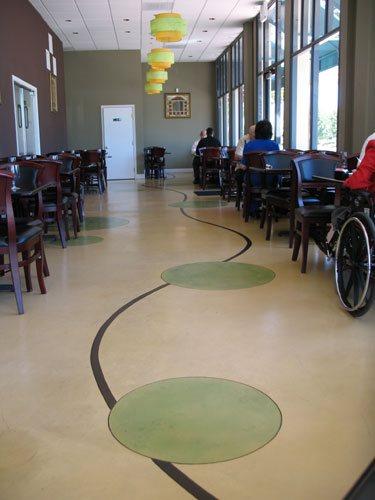 Tan, Green Circles, Curved Lines Concrete Floors The Concrete Colorist, Inc VALLEJO, CA