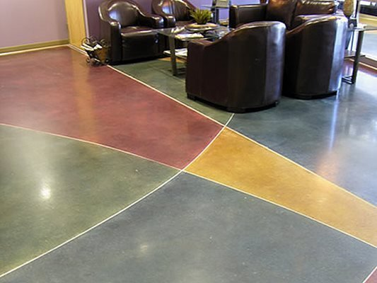 Waiting Area, Colorful, Stained. Concrete Floors Yankee Surface Technologies Seekonk, MA