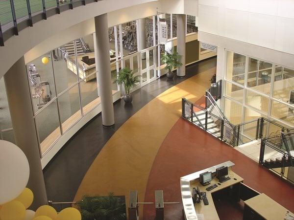 Yellow, Black, Red Concrete Floors Bomanite Corporation Madera, CA