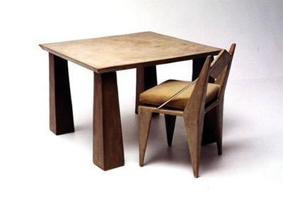 Brown, Table And Chair Concrete Furniture Kaldari Santa Ana, CA
