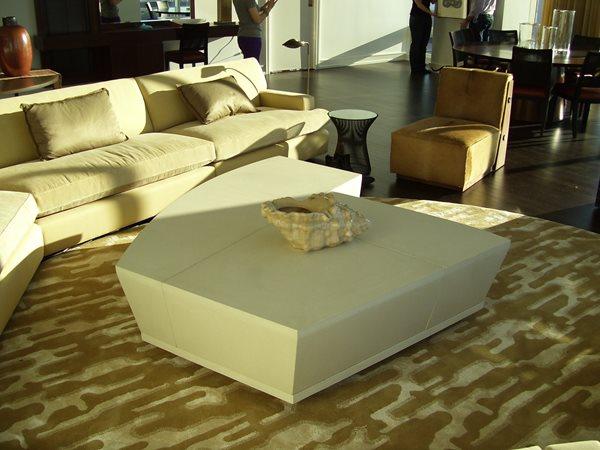 Coffe Table, Cream Concrete Furniture Oso Industries Brooklyn, NY