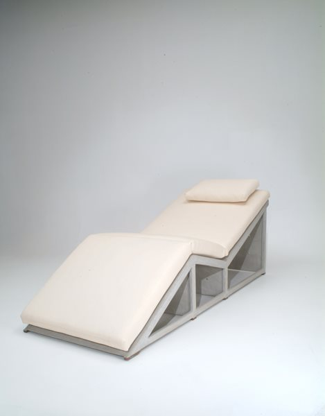 Concrete Chaise Lounge, Cream Cushion Concrete Furniture Kaldari Santa Ana, CA