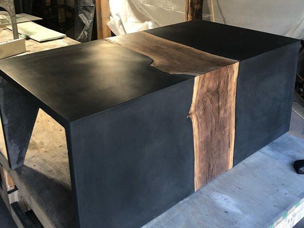 Concrete Table, Wood Inlay Concrete Furniture Concrete Aesthetics Vermont Milton, VT