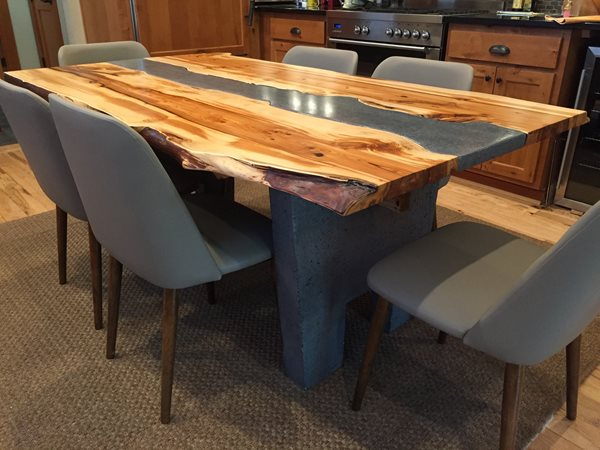 Custom Table, Wood And Concrete Table, Live Edge Concrete Furniture Crafthammer Design Seattle, WA