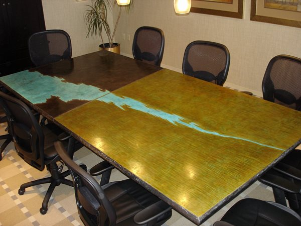 Office Table, Acid Stained Concrete Furniture Gkrete Dripping Springs, TX