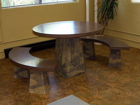 Round Table, Benches Concrete Furniture J. Cole Designs Santa Rosa, CA