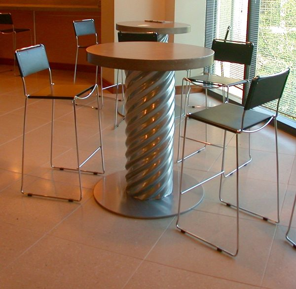 Silver, Bar Table Concrete Furniture Merge Design Company Raleigh, NC