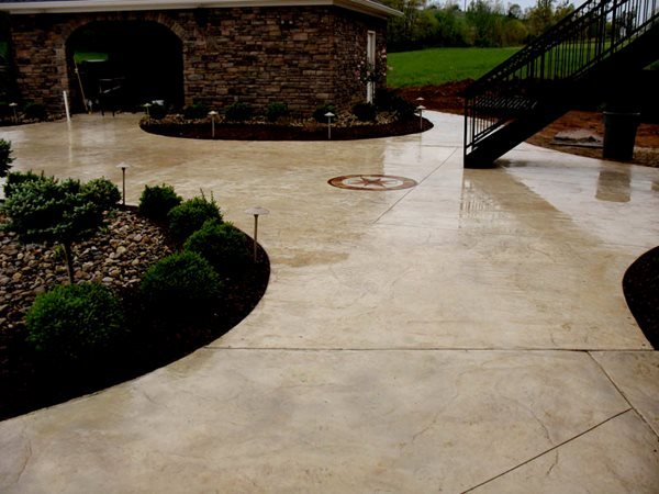 Beige Colored Patio, Seamless Stamped Patio Concrete Patios Hancock Family Homes Louisville, KY