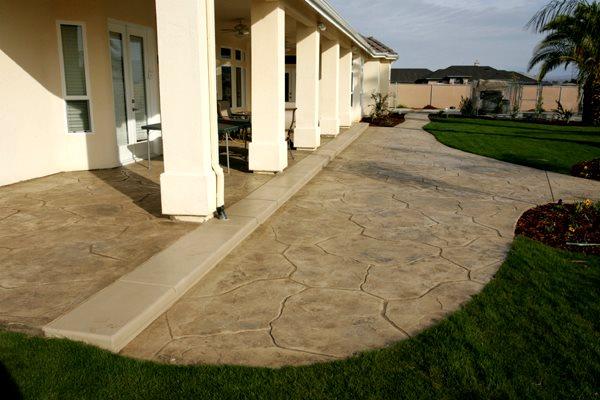 Beige, Flagstone Concrete Patios Heritage Bomanite Fresno, CA